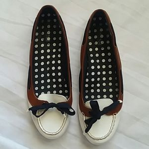 Sperry Top Wider White Patent Boat Loafers Sz. 8.5